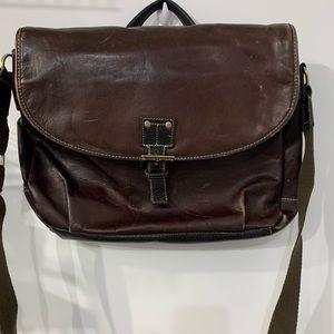 Bugatti Brown Leather Messenger Bag